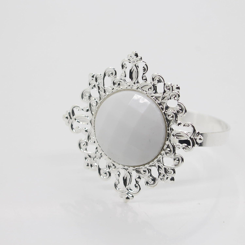 10 pezzi, colore: bianco diamante Gem-Anello portatovaglioli porta tovaglioli Party Favor per decorazione tavola Yomoo