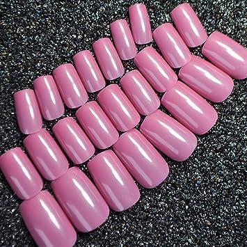 Taro 379M - Juego de uñas postizas de acrílico brillantes, color morado