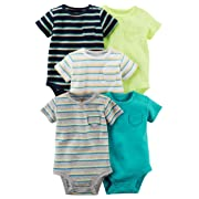 Carters' Baby Boys 5 Pack Bodysuit Set, Stripes/Solid, 6 Months