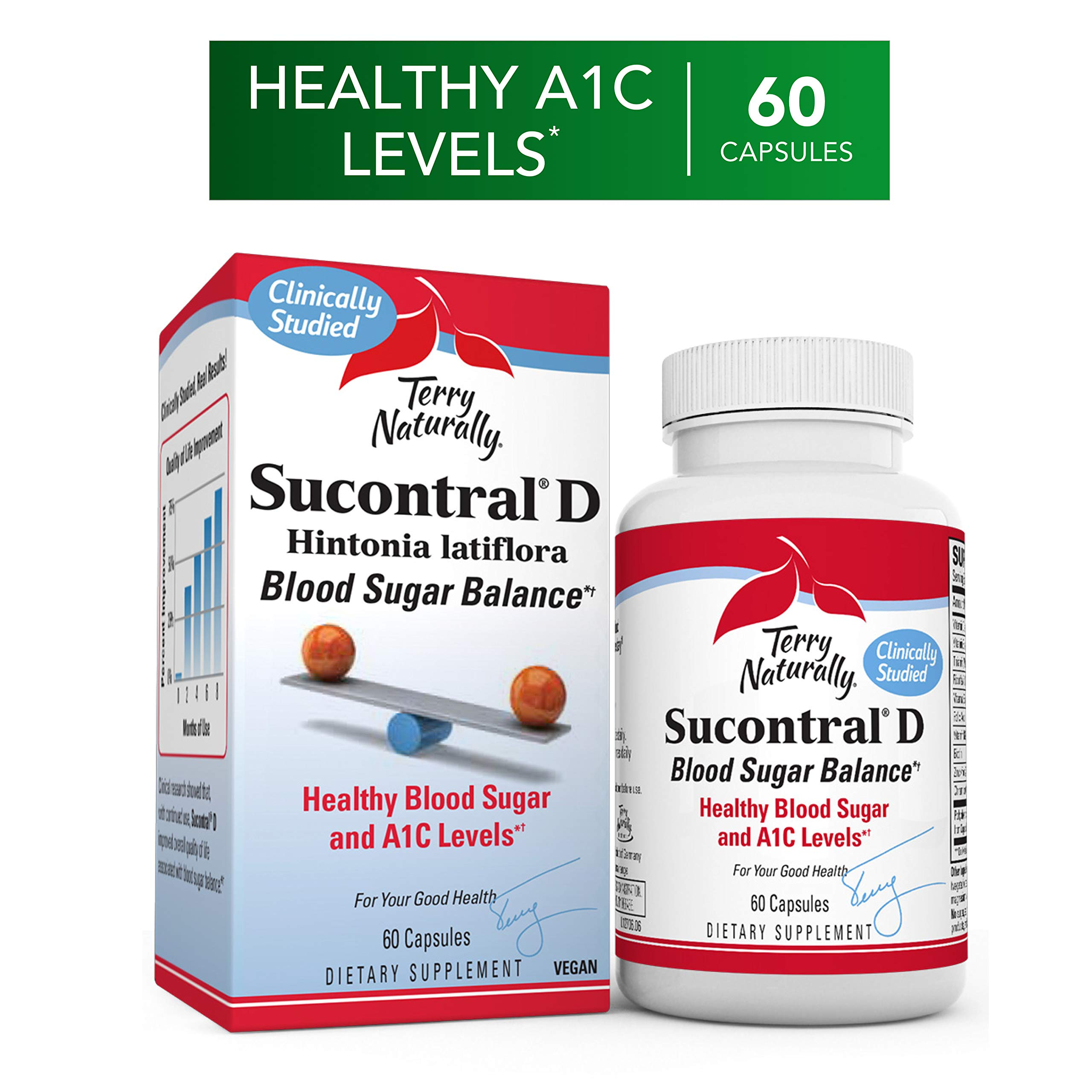 Terry Naturally Sucontral D - 20 mg Hintonia Latiflora, 60 Capsules - Supports Blood Sugar Balance, Carbohydrate Metabolism & Healthy Insulin Function - Non-GMO, Gluten-Free - 60 Servings by Terry Naturally