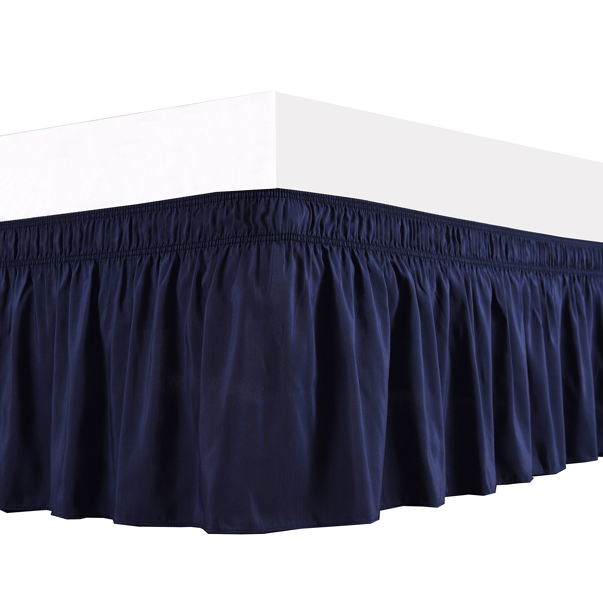 Biscaynebay Wrap Around Bed Skirt, Elastic Dust Ruffle, Easy Fit Wrinkle and Fade Resistant Solid Color Fabric, King Size, Navy