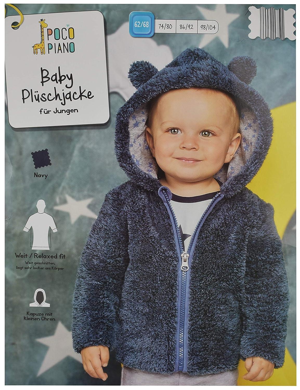 Poco Piano Baby Jacke Teddy Pl/üschjacke Jungen Kapuze mit Ohren Blau 62//68 74//80 86//92