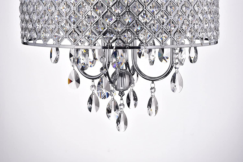 Edvivi Epg801ch Chrome Finish Drum Shade 4 Light Crystal Chandelier Ceiling Fixture Round Com