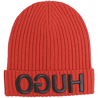038444bd81c Amazon.com  Hugo Boss Mens -X 537 Beanie Cap Red Beanie Size  One Size   Clothing