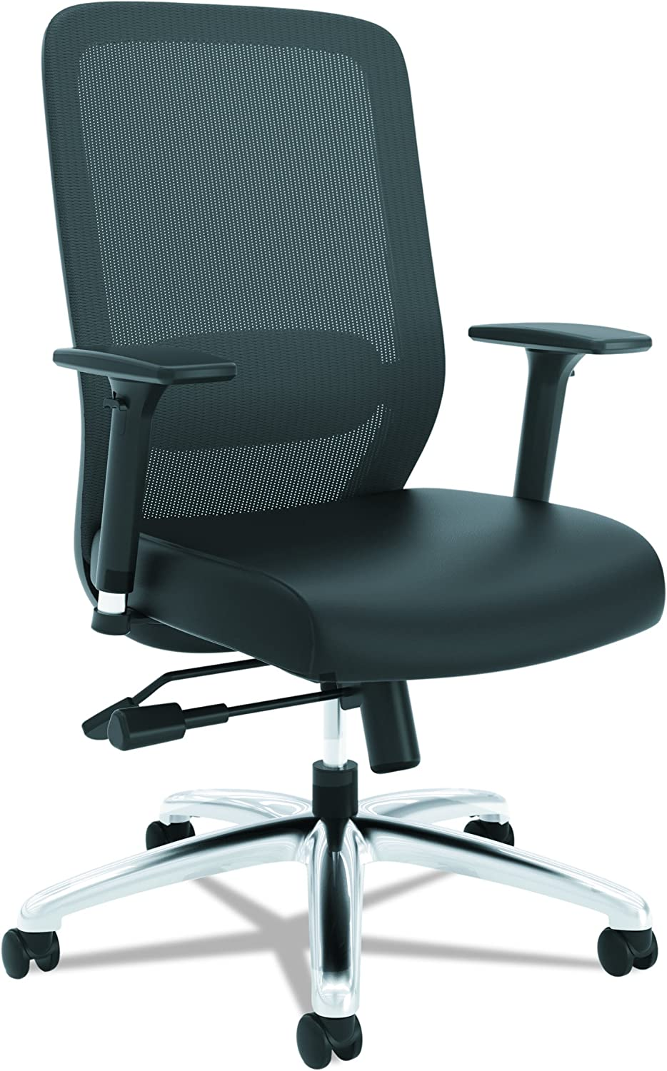 HON Exposure Mesh Task Chair - Mesh High-Back Computer Chair with Leather Seat for Office Desk, Black