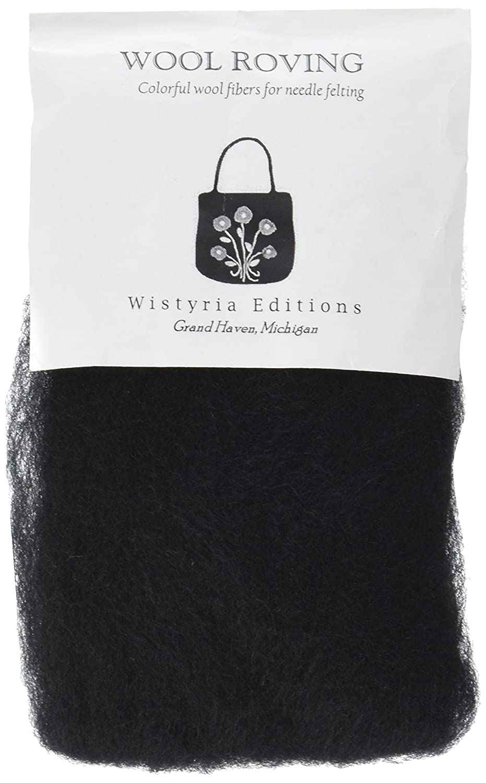 Wistyria Editions Ultra Fine 12' Wool Roving .22 Oz: Black FBA_R-W814R