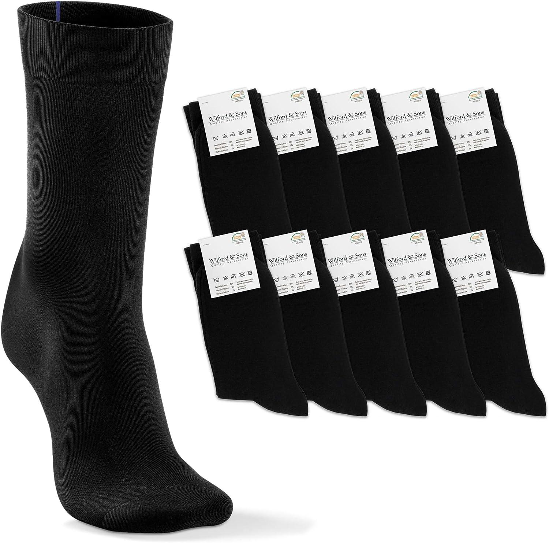 Calcetines Negros Clásicos 10 Pares, Hombres Mujeres Niños - Marcas de Colores por Tamaño | Algodón Calcetín Largos - Comodidad para Negocios Trabajo Traje Deportivos Ciclismo Medias Socks