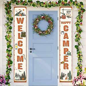 2 Pieces Camping Party Banner Camping Party Decorations Camping Welcome Porch Sign for Camping Themed Birthday Party Baby Shower Decorations