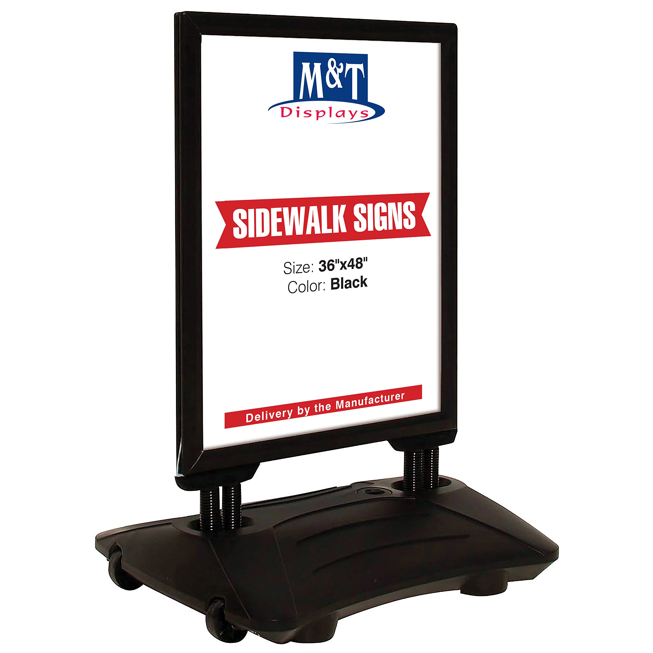 Outdoor Display Advertising Sidewalk Sign for Posters, Snap Open Frame, Double Sided, Water Base (24x36, Black) High Wind Resistant, Spring Base