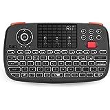 RII I4 Mini teclado bluetooth, Teclado inalámbrico portátil negro Wireless USB de 2,4 G, teclado inalámbrico iluminado con Ba