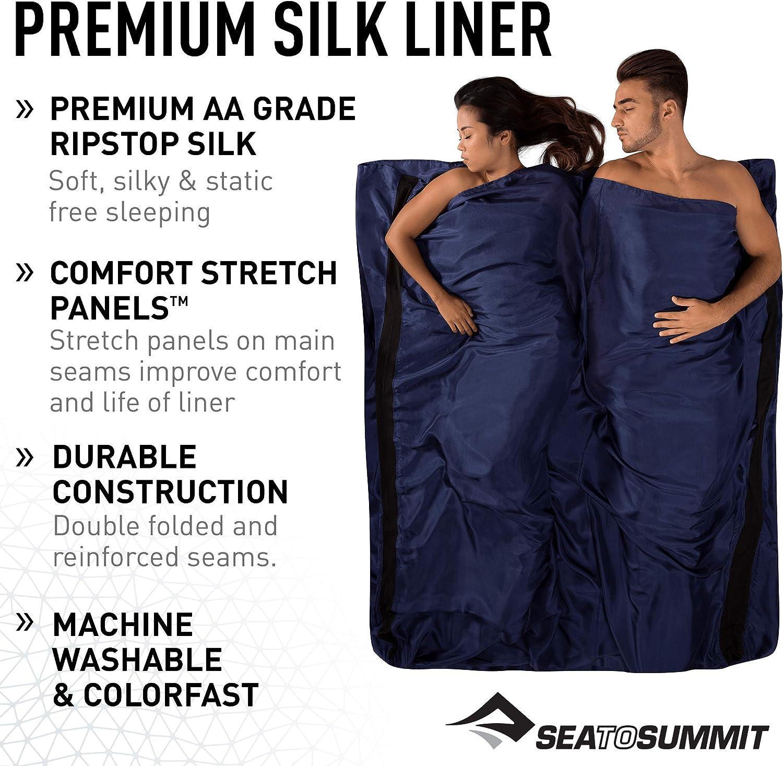 elastisch 92 x 210 cm Sea to Summit Unisex Mumienschlafsack aus Seide Marineblau