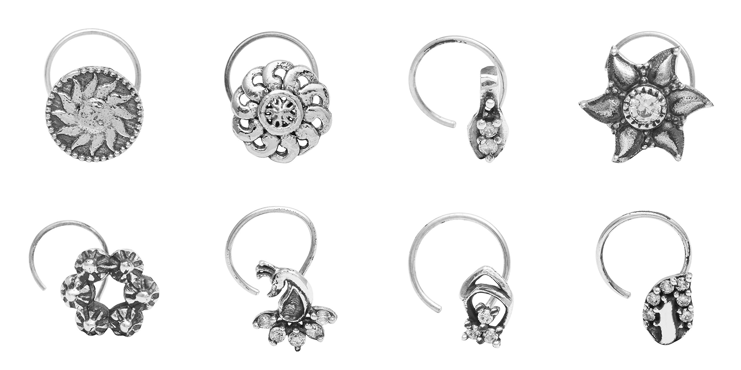Sun Flower 925 Silver Oxidized Wedding Nose Pin For Women Set 8 Pieces Combo