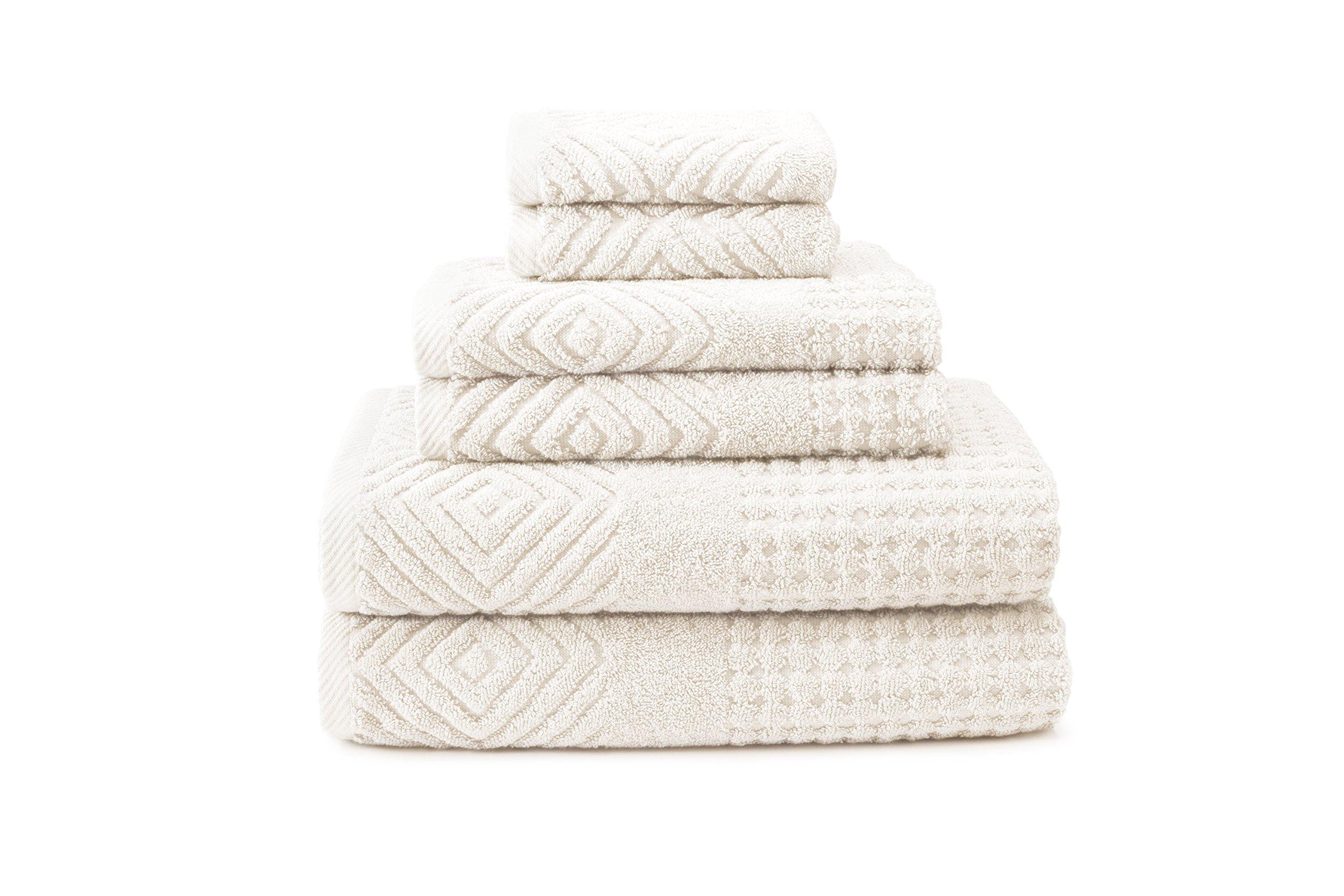 Luxury Bath Towel Set - 100 Percent Organic Cotton Towels - Soft Bathroom Towel Set (6-Piece Set, Cream)