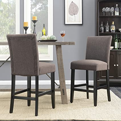Belleze 24u0026quot; Parson Chairs Dining Chair Kitchen Urban Style Counter  Height With Wooden Legs Set