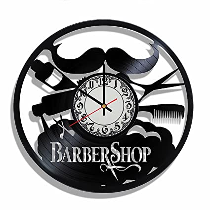 Barbershop design vinyl record wall clock, Barbershop wall poster, Barbershop decal