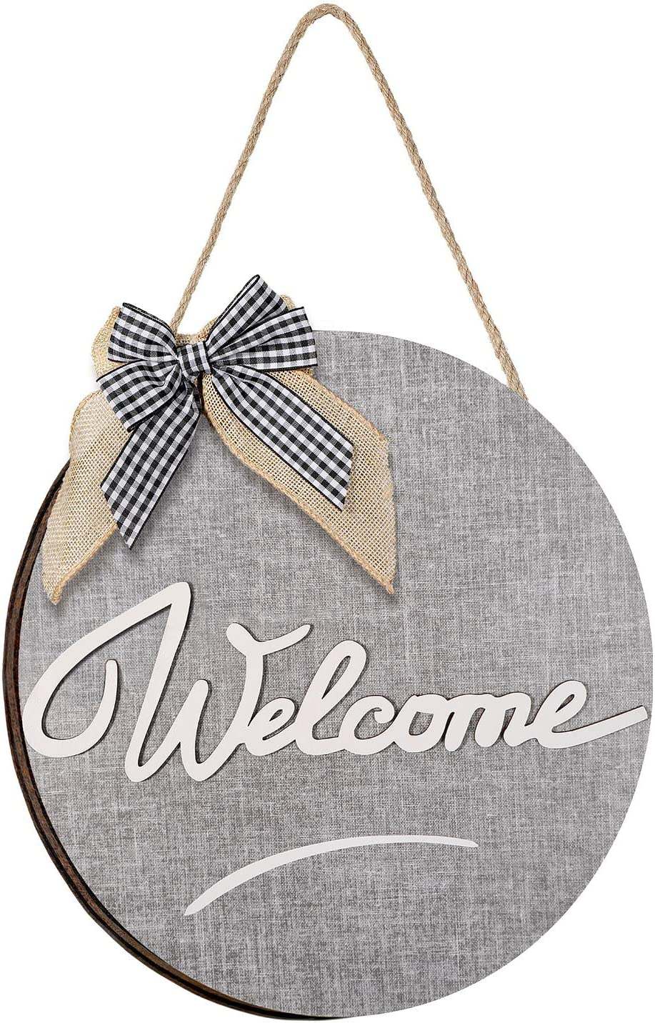 Jetec Welcome Rustic Front Door Decor Welcome Sign Front Door Rustic Wooden Door Hanger Front Porch Decor Welcome Front Door Hanger Hanging Sign for Home Door Farmhouse