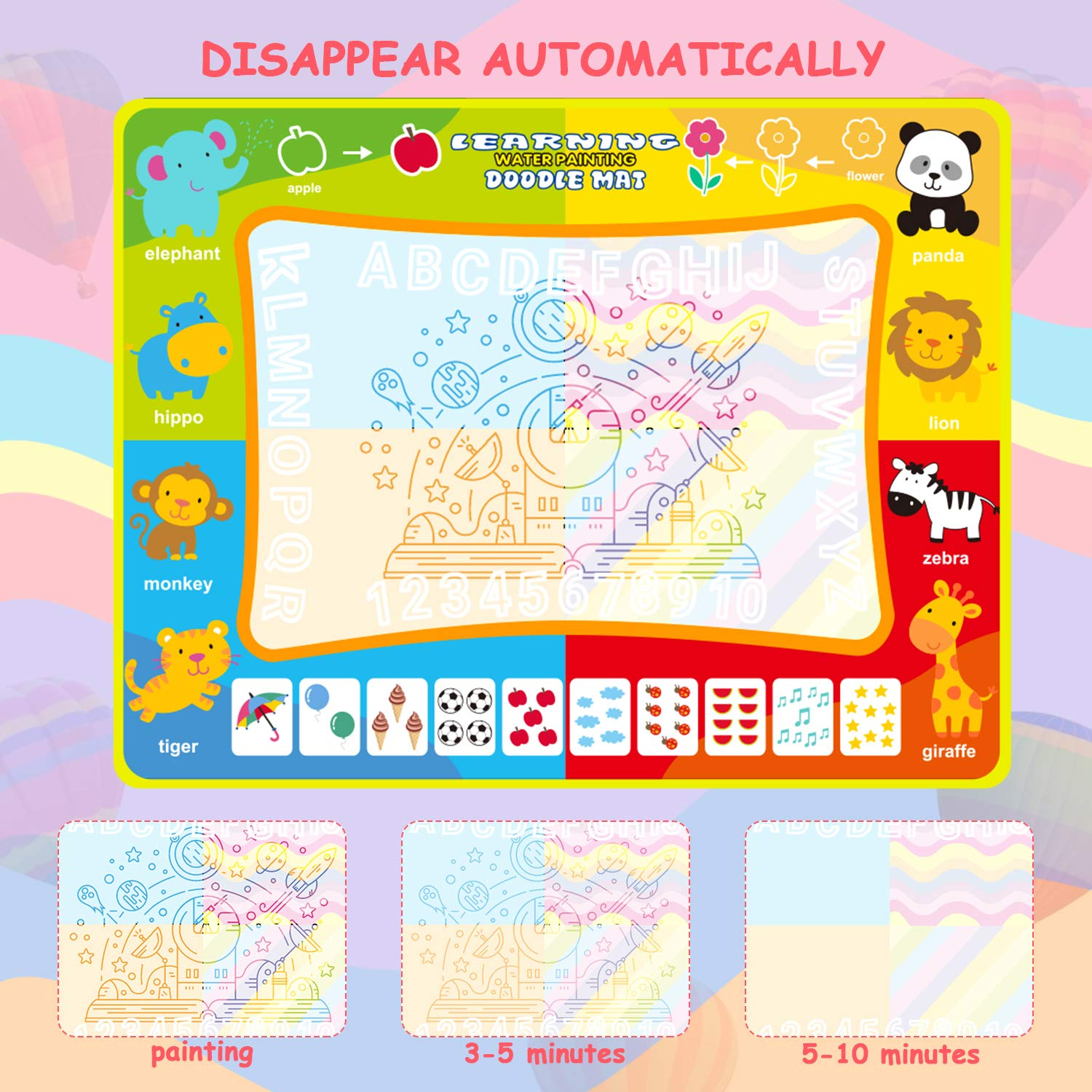 Toddler Educational Toys for 2-8 Year Olds 47.2 /× 35.4 Inches Colorful Drawing Pad Animal Aqua Doodle Mat Water Doodle Magic Mat for Kids