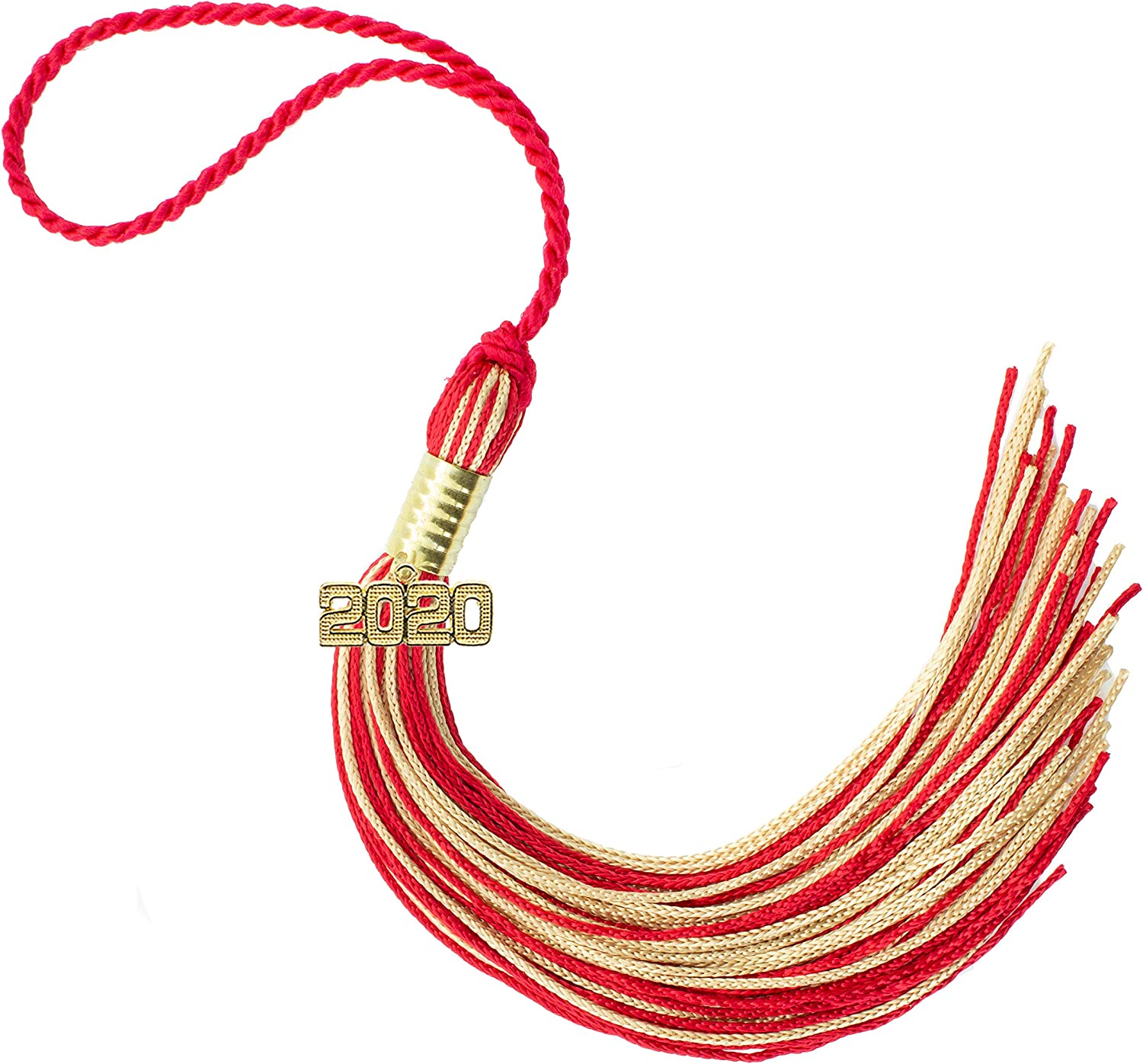 Every School Color Available Made in USA 2020 RED//OLDGOLD Graduation Tassel
