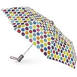 Totes Classics 3 Section Automatic Compact Umbrella, Big Rainbow Dot, One Size