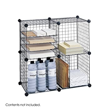 Safco Products 5279BL Wire Storage Cube Set, Black