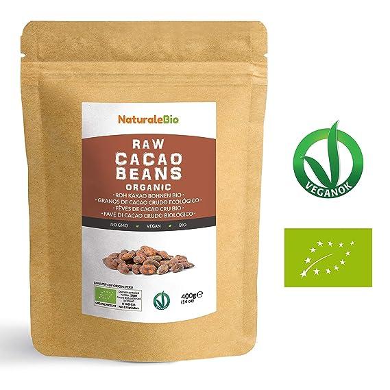 Granos de Cacao Crudo Ecológico 400g | 100 % Bio, Natural y Puro | Cultivado en Perú a partir de la planta Theobroma cacao | Superalimento rico en ...