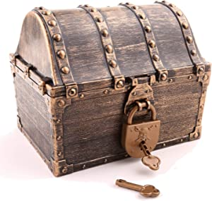 """Lingway Toys Kids Pirate Treasure Chest Large Size Teacher's Favorite Treasures Collection Storage Box with 2 Sets of Locks and Keys Only(Vintage Coating,6.3""""X4.8""""X5.2"""")"""