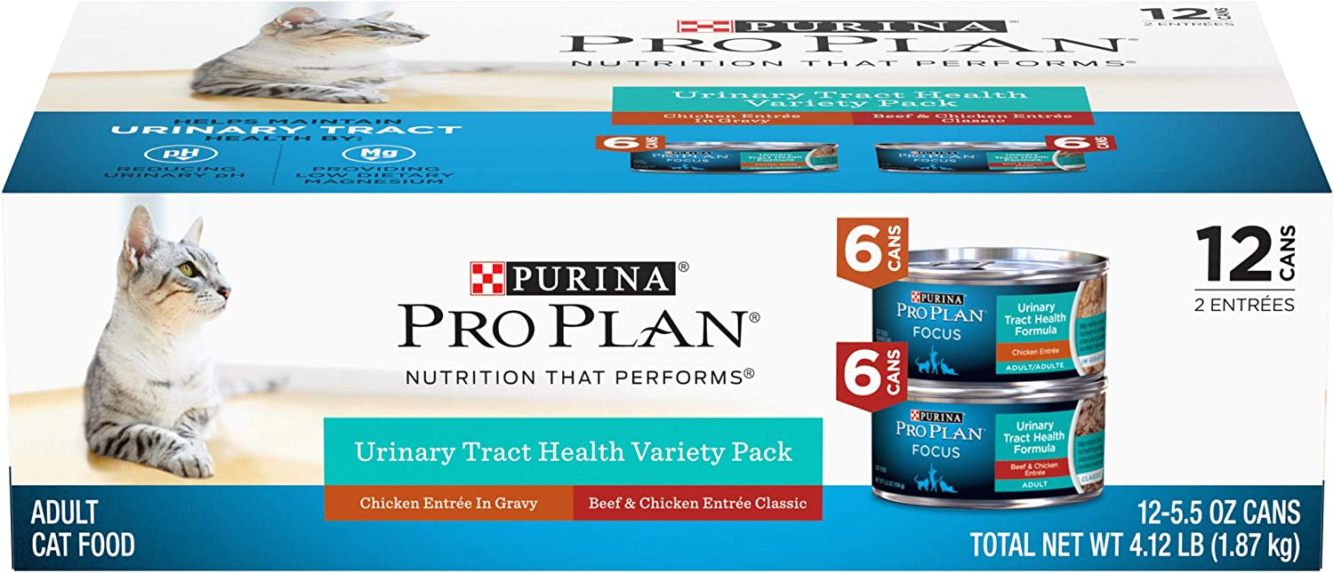 Purina Pro Plan Urinary Tract Health Wet Cat Food Variety Pack, Focus Chicken & Beef & Chicken - (12) 5.5 oz. Cans