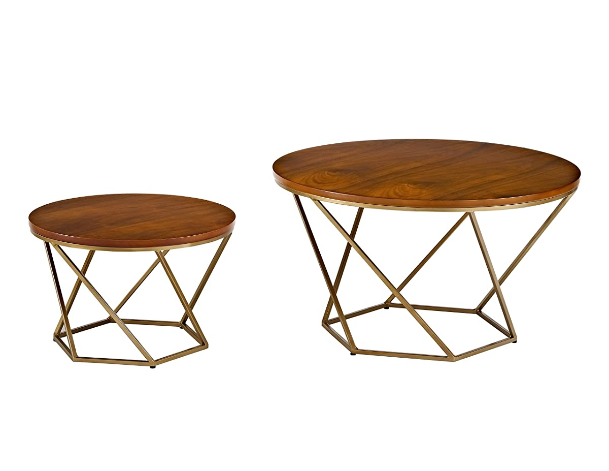 WE Furniture Geometric Wood Nesting Coffee Tables - Walnut/Gold