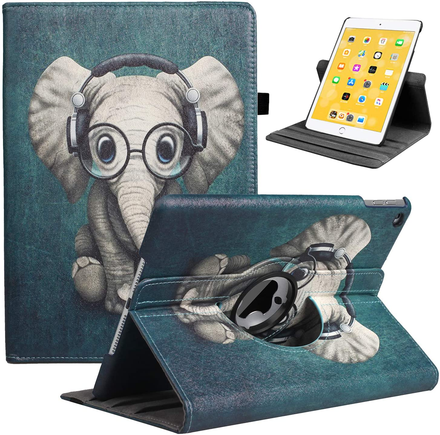 LRCXL iPad 5th/ 6th Generation Case, iPad 9.7 Inch 2017/2018 Case - Rotating Stand Protective Cover with Auto Sleep Wake for Apple ipad Air 2/ iPad Air 2013 (Musical Elephant)