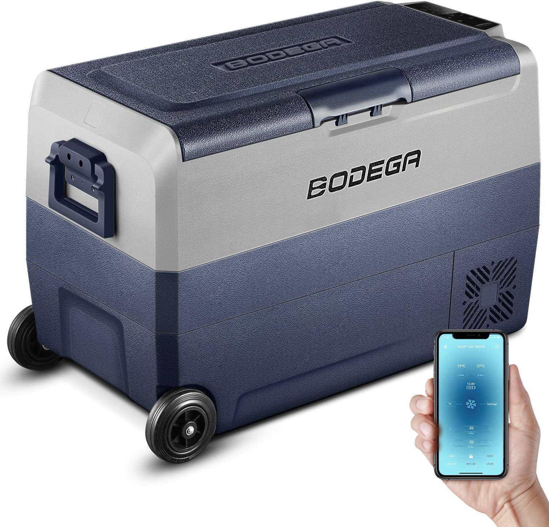BODEGA 12 Volt Refrigerator, Portable Freezer, Car Fridge Dual Zone APP Control, 53 Quart(50L)-4℉-68℉ RV Electric Compressor Cooler 12/24V DC and 100-240V AC for Outdoor, Vehicles, Camping, Travel