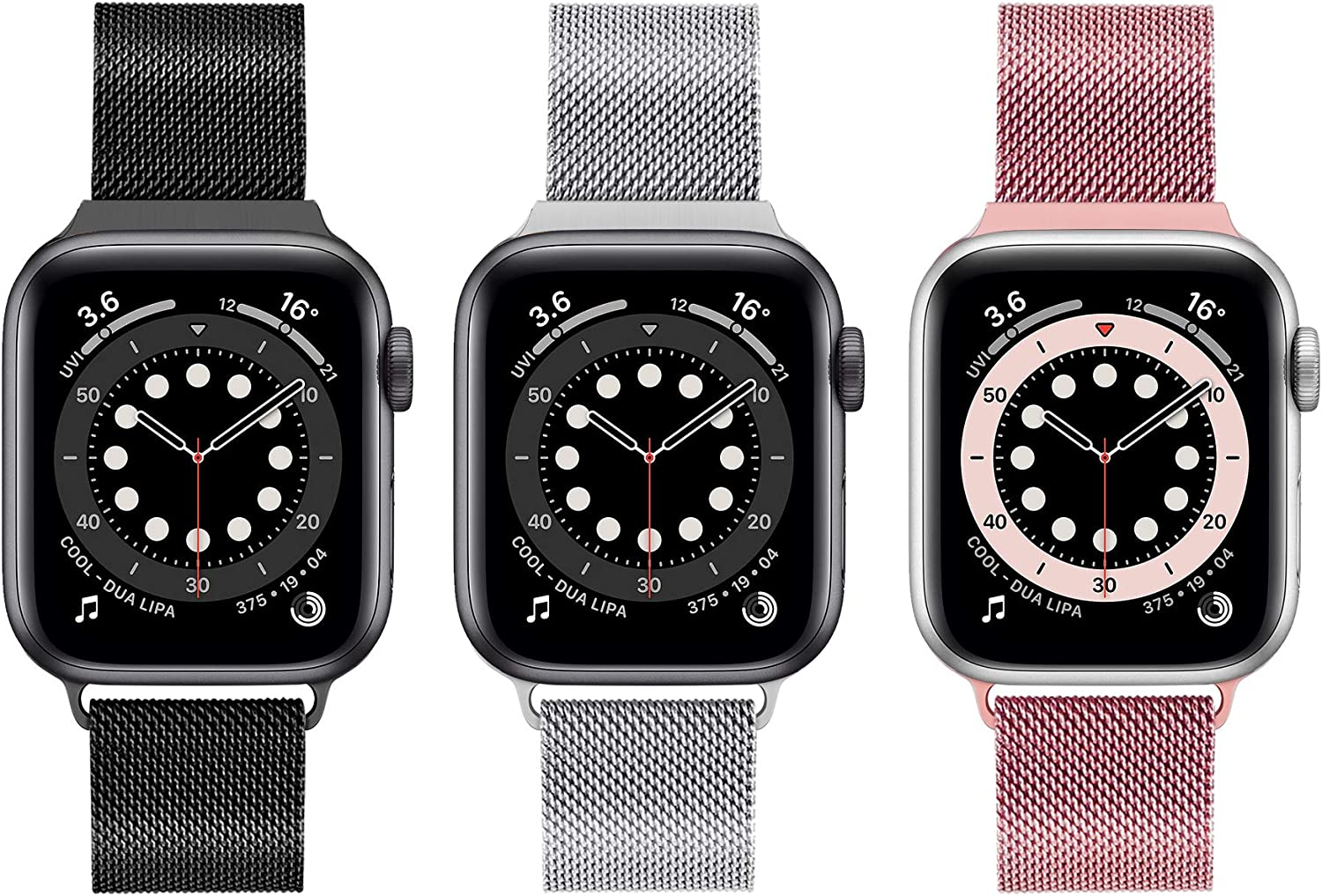3 Pack Magnetic iWatch Band Compatible with Apple Watch 38mm 40mm 42 mm 44mm Stainless Steel Mesh Loop Metal Band Replacement for iWatch Apple Watch Series 1/2/3/4/5/6/SE