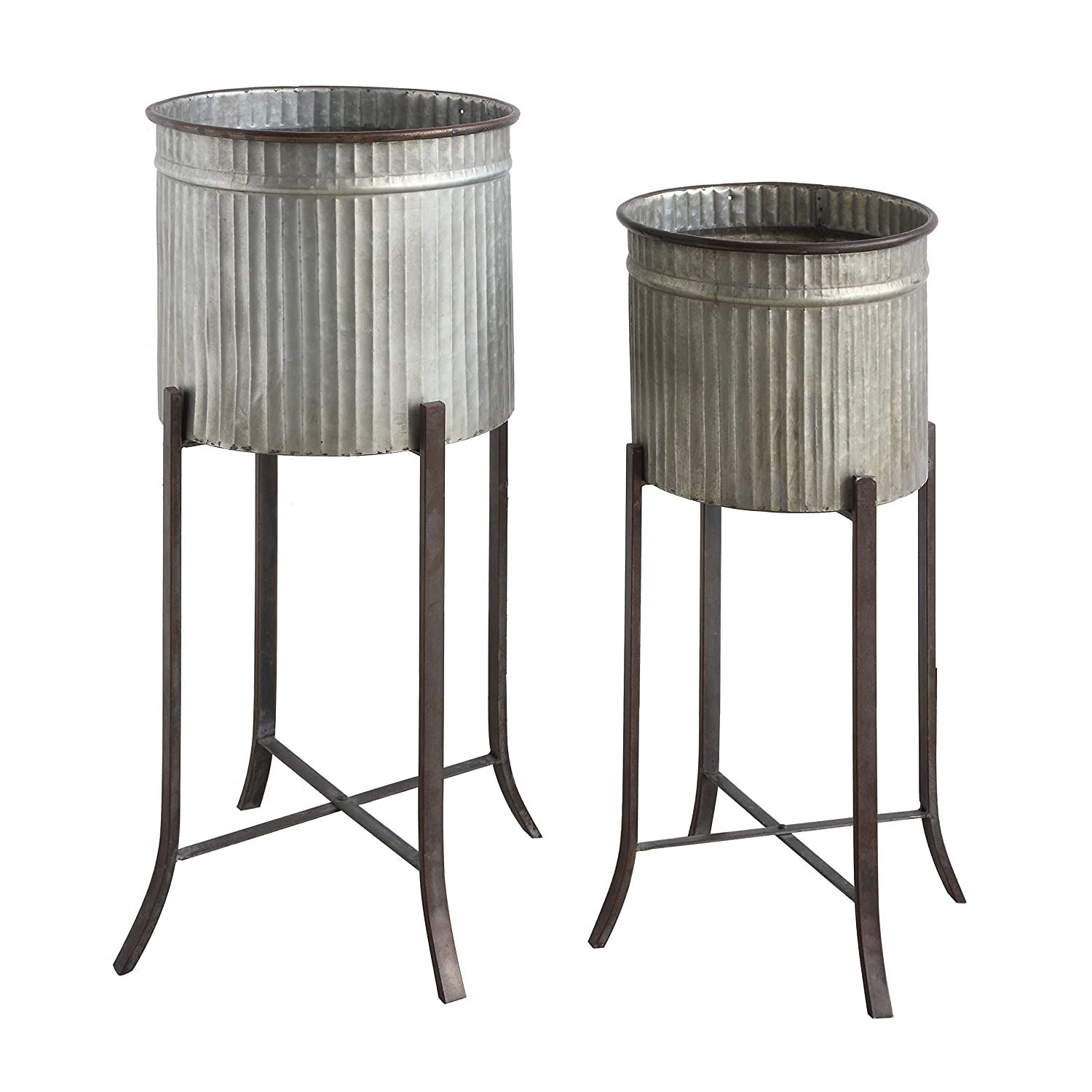 Rustic iron planters on stand for French farmhouse, European country, and French inspired interior decorating.