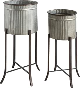 Creative Co-op Corrugated Metal Planters on Stands (Set of 2 Sizes), Silver, 2 Count