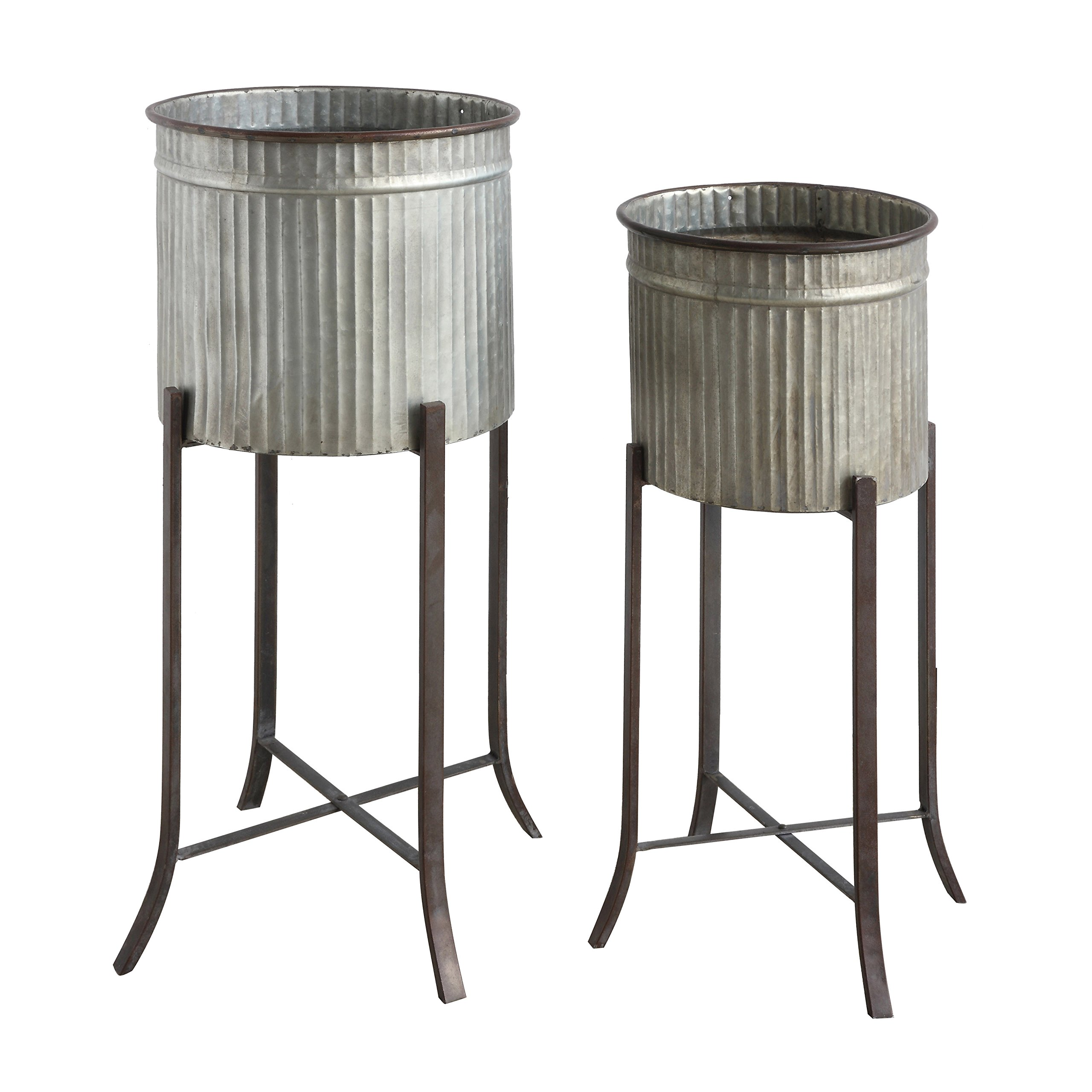 Creative Co-op Set of 2 Iron Planters on Stands