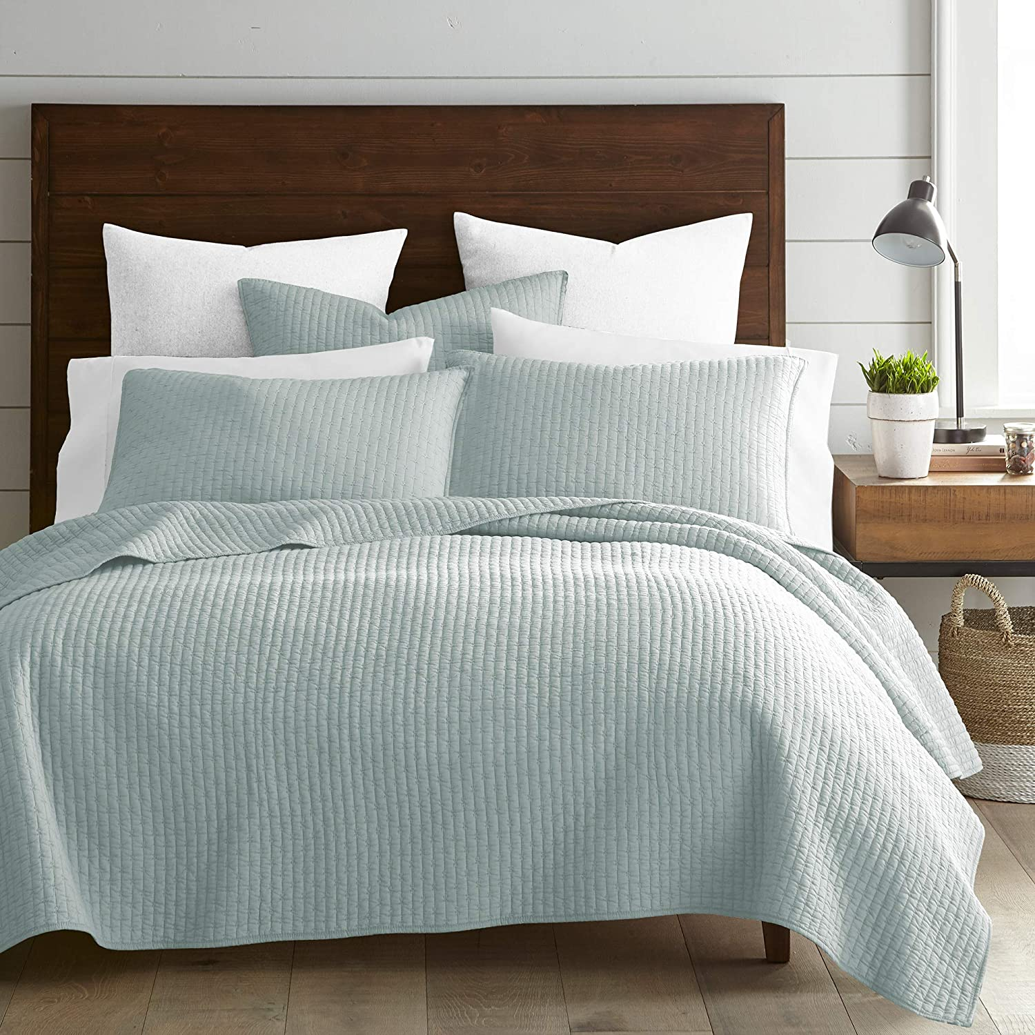 Amazon Com Levtex Home Cross Stitch Quilt Set 100 Cotton King 106x92in 2 Shams 36x20in Blue Green Kitchen Dining