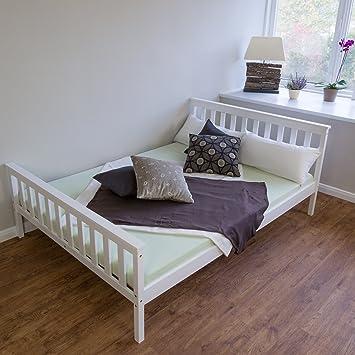Bett weiß holz 140x200  Homestyle4u 890 Sylt Holzbett Doppelbett aus Kiefer B x L: 140 cm ...