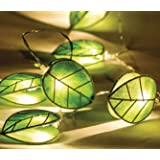 Ex-Pro® Hessian Leaf LED Fairy String Lights, Battery Powered, Ambient Warm White LEDs. Bedroom / Living Decorative lighting.