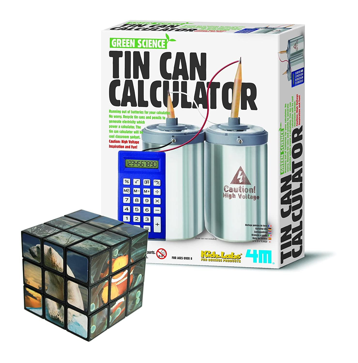 Belair Gifts Number One Selling Creative Activity Fun Educational Idea for Children Age 8+ Build You Own Tin Can Calculator With Problem Solving Sealife Cube