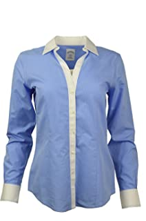 b89ccea3 Brooks Brothers Womens Striped Non-Iron Contrast Stitch V-Neck Button Down  Shirt Blue