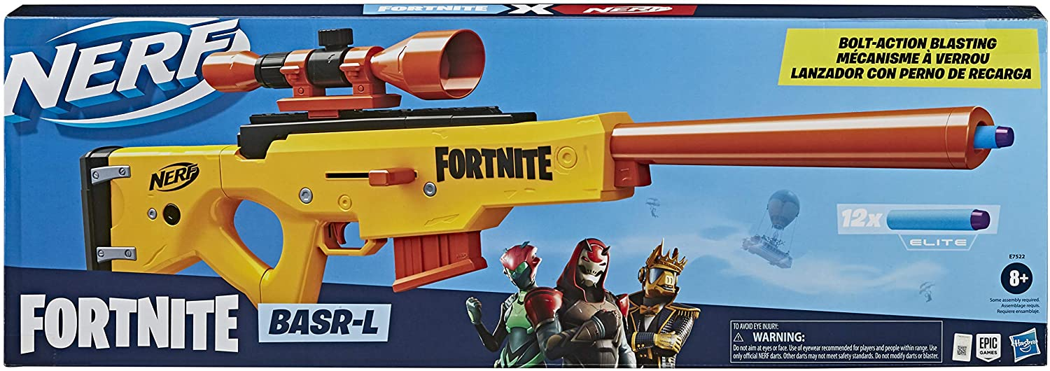 Amazon Com Nerf Fortnite Basr L Bolt Action Clip Fed Blaster Includes Removable Scope 6 Dart Clip And 12 Official Elite Darts Toys Games