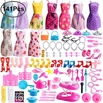 7bab2ea8e Outee 141 Pack Doll Clothes Set for Barbie Accessories Xmas Gift  Accessories Including 10 Pcs Clothes