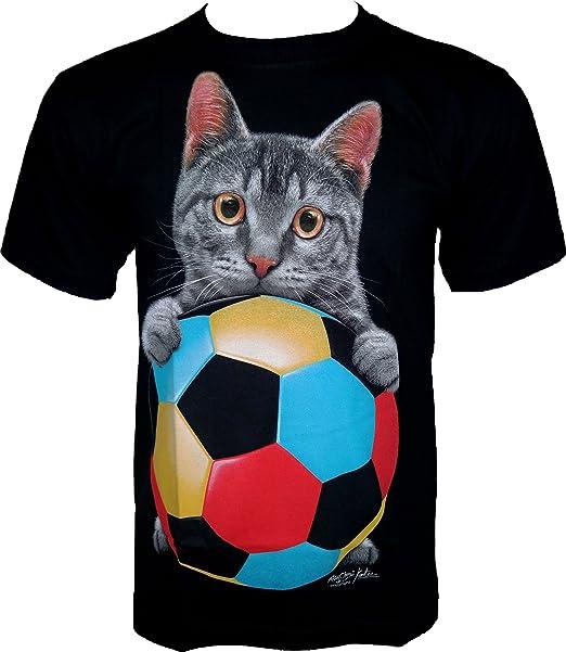 ROCK Chang – Camiseta Fútbol * Cat * Glow in The Dark * Negro gr608 Negro. Pasa el ratón por ...