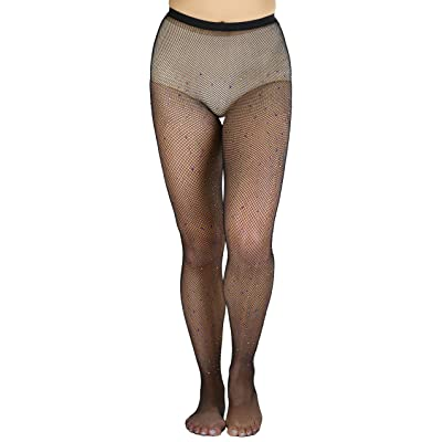 ToBeInStyle Women's Elegant Rhinestone Net Tights - Black/Multicolor - OS at Amazon Women's Clothing store