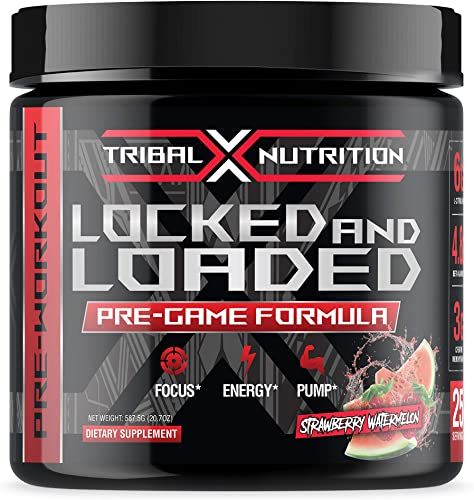 Locked and Loaded Pre Workout by Tribal X Nutrition Pre-Workout Powder Supplement for Men and Women Energy Stimulant Drink Features Creatine Monohydrate, L-Citrulline Malate, and Beta Alanine