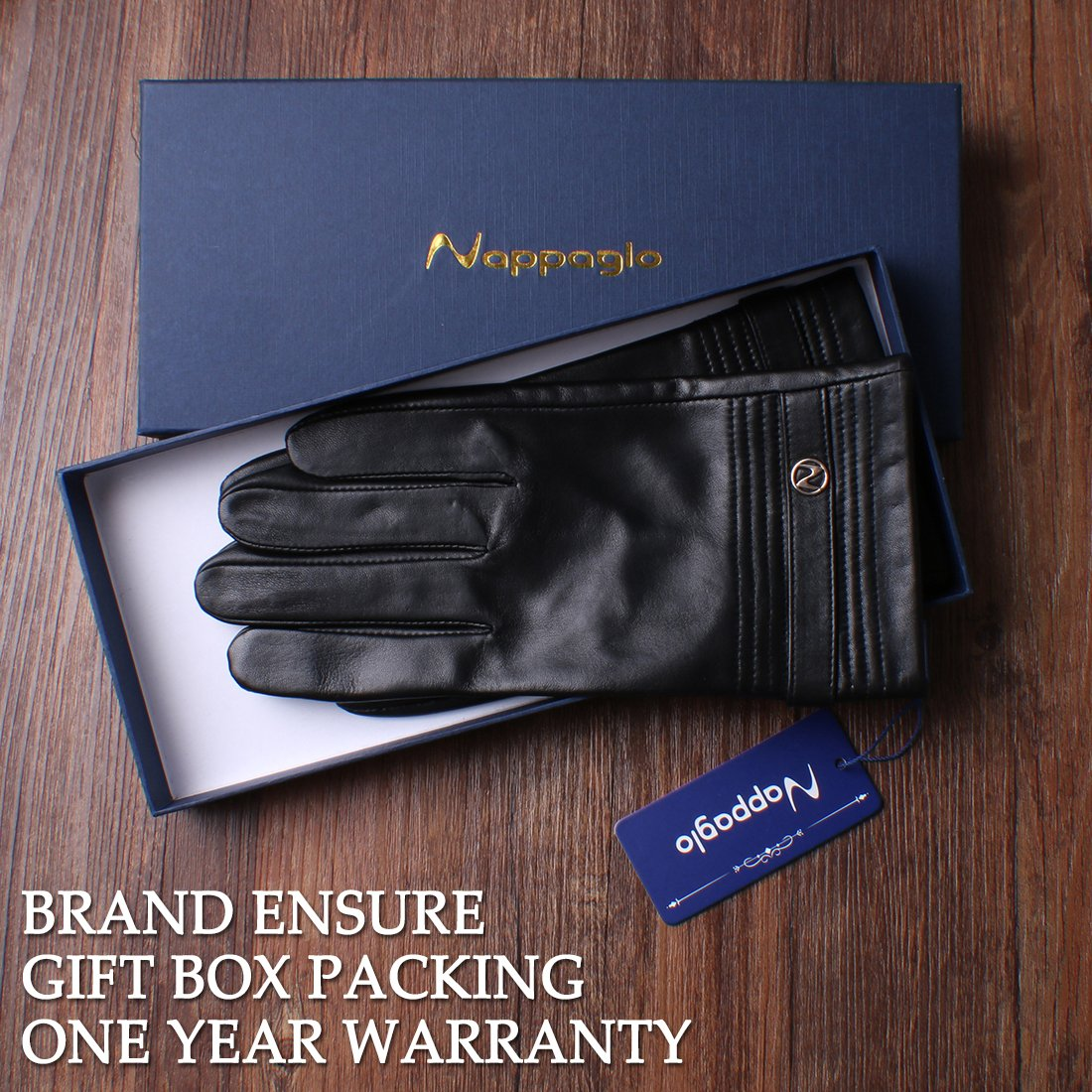 Nappaglo Men's Genuine Lambskin Leather Gloves Touchscreen Winter Warm Windproof Cycling Mittens (S (Palm Girth:up to 8''), Black (Touchscreen)) by Nappaglo (Image #7)