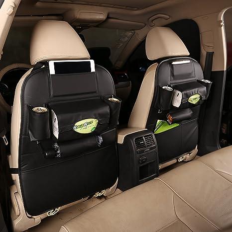 TOCGAMT 2 Pack PU Leather Car Backseat Organizer Black