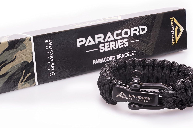 Micro Paracord Survival Bracelet-Carabiner-main Made in UK-Black//Gold
