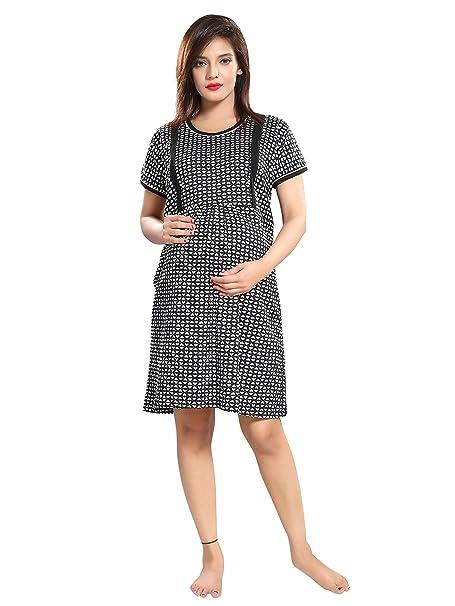TUCUTE Women s Hosiery Short Feeding Nursing Maternity Nighty Nightwear  Nightdress with Floral 489c1adb6