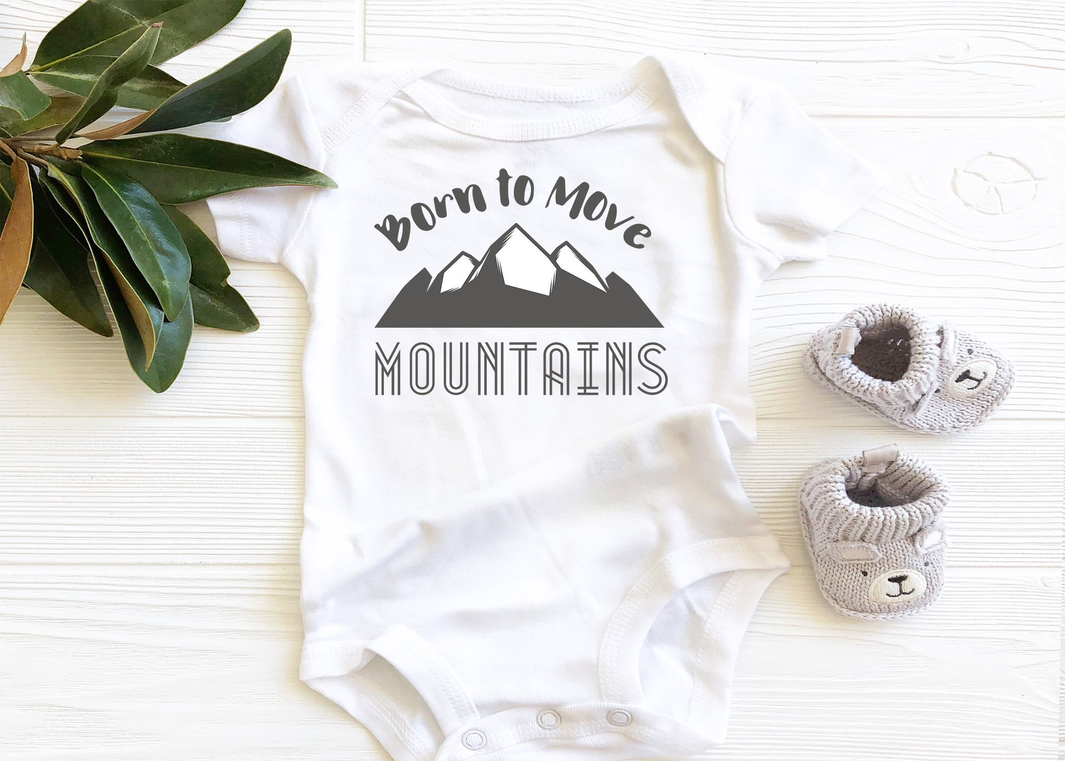 Born to Move Mountains Baby Bodysuit, Christian Faith Scripture Onesie, boho baby