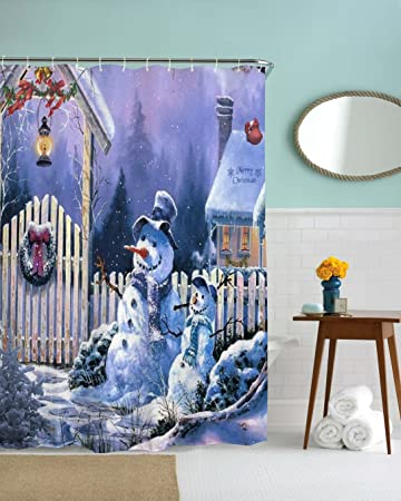 christmas bathroom shower curtain winter lamp snowman pattern waterproof mildew free mildew free bathroom decor - Christmas Bathroom Decor Amazon